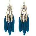 povoljno Releji-Žene Viseće naušnice Vintage Style jeftino dame Američki domorodac Perje Naušnice Jewelry Crn / Tamno mornarice Za Spoj Festival 1 par