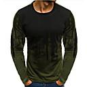 voordelige Heren T-shirts & tanktops-Heren T-shirt Katoen Kleurenblok Ronde hals Slank Rood / Lange mouw