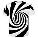voordelige Heren T-shirts & tanktops-Heren Standaard / Street chic Print T-shirt Club Gestreept / 3D Ronde hals Zwart & Wit Wit / Korte mouw / Zomer