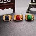 رخيصةأون خواتم-رجالي خاتم خاتم الخاتم عقيق يماني 1PC أسود أحمر أخضر سبيكة مكعب غلو زفاف مناسب للبس اليومي مجوهرات 3D