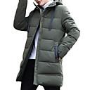 povoljno Men's Winter Coats-Muškarci Dnevno Jednobojni Dug Padded, Poliester Dugih rukava S kapuljačom Crn / Sive boje / Vojska Green XXL / XXXL / 4XL / Slim
