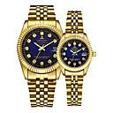 povoljno Ženski satovi-Par je Ručni satovi s mehanizmom za navijanje Zlatni sat Kvarc odgovarajući Njegova i Njezina Zlatna 30 m Kalendar Kreativan Analog Luksuz Elegantno - Zlato