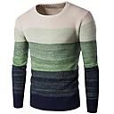 povoljno Men's Winter Coats-Muškarci Dnevno / Izlasci Osnovni Color block Dugih rukava Slim Duga Pullover Džemper od džempera, Okrugli izrez Jesen / Zima Lila-roza / Plava / Djetelina M / L / XL