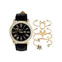 ieftine Benzi Lumină LED-Pentru femei Ceasuri de lux Ceas de Mână Quartz Set cadou Piele Negru / Alb Cronograf Draguț Luminos Analog femei Lux Atârnat - Alb Negru Un an Durată de Viaţă Baterie / imitație de diamant