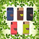 رخيصةأون أغطية أيفون-غطاء من أجل Apple iPhone XS / iPhone XR / iPhone XS Max حامل البطاقات / ضد الصدمات / مع حامل غطاء خلفي لون سادة / النباتات قاسي جلد PU