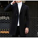 povoljno Men's Winter Coats-Muškarci Dnevno Osnovni Veći konfekcijski brojevi Dug Kaput, Jednobojni Ravni ovratnik Dugih rukava Vuna / Pamuk / Poliester Crn / Sive boje