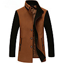 povoljno Men's Winter Coats-Muškarci Dnevno Osnovni Normalne dužine Kaput, Color block Odbačenost Dugih rukava Poliester Sive boje / Bijela / Lila-roza