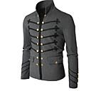 povoljno Men's Winter Coats-Muškarci Dnevno Osnovni Normalne dužine Kaput, Jednobojni Ruska kragna Dugih rukava Poliester Crn / Sive boje