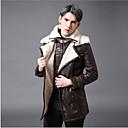 povoljno Men's Winter Coats-Muškarci Dnevno Normalne dužine Kaput, Jednobojni Rolled collar Dugih rukava PU Braon / Slim