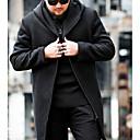 رخيصةأون صيني-رجالي مناسب للبس اليومي أساسي قياس كبير طويلة معطف, لون سادة مرتفعة كم طويل صوف / قطن أسود