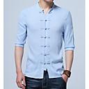 رخيصةأون قمصان رجالي-رجالي النمط الصيني قياس كبير - قطن / كتان قميص, لون سادة رقبة طوقية مرتفعة / الربيع / الخريف