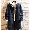 رخيصةأون معطف مطر-رجالي مناسب للبس اليومي أساسي قياس كبير طويلة ترانش كوت, لون سادة طوي كم طويل بوليستر أزرق / أسود