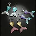 povoljno Naušnice-Žene Viseće naušnice 3D Sirena dame Stilski Klasik Naušnice Jewelry Crvena / Bijela / Plava Za Dnevno 1 par