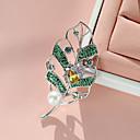 povoljno Naušnice-Žene Kubični Zirconia Broševi Leaf Shape dame Stilski pomodan Biseri Glina Pozlaćeni Broš Jewelry Zlato Pink Za Ulica / Austrijski kristal