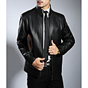 povoljno Men's Winter Coats-Muškarci Dnevno Ulični šik Normalne dužine Krzneni kaput, Jednobojni Ruska kragna Dugih rukava Goatskin Braon / Crn