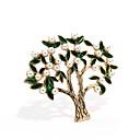 رخيصةأون بروشات-نسائي دبابيس فراغ خارجي شجرة الحياة سيدات شائع اللؤلؤ ذهبي بروش مجوهرات أخضر غامق من أجل شارع