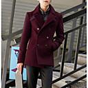 povoljno Men's Winter Coats-Muškarci Rad Normalne dužine Jakna, Jednobojni Rolled collar Dugih rukava Poliester Navy Plava / Lila-roza / Žutomrk