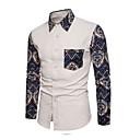 povoljno Muške košulje-Veći konfekcijski brojevi Majica Muškarci - Ulični šik Dnevno Cvjetni print Slim Navy Plava / Dugih rukava