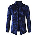 رخيصةأون قمصان رجالي-رجالي مناسب للحفلات / نادي ترف طباعة قطن قميص, ورد ياقة كلاسيكية / كم طويل