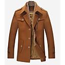povoljno Men's Winter Coats-Muškarci Dnevno Osnovni Jesen Normalne dužine Kaput, Jednobojni Kragna košulje Dugih rukava Poliester Sive boje / Lila-roza / Svjetlosmeđ
