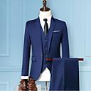 povoljno Muške majice i potkošulje-Muškarci Party Osnovni Veći konfekcijski brojevi Normalne dužine odijela, Jednobojni Klasični rever Dugih rukava Poliester Sive boje / Lila-roza / Navy Plava / Slim