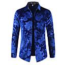 رخيصةأون سترات و بدلات الرجال-رجالي ترف / أساسي طباعة قطن قميص, ورد / لون سادة / كم طويل