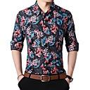 povoljno Muške košulje-Veći konfekcijski brojevi Majica Muškarci - Ulični šik Izlasci / Klub Geometrijski oblici Klasični ovratnik Plava / Dugih rukava