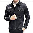 povoljno Muške jakne-Muškarci Dnevno Osnovni Jesen zima Normalne dužine Jakna, Jednobojni Odbačenost Dugih rukava Poliester Crn / Slim