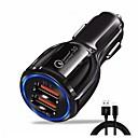 povoljno Punjači za auto-Auto punjač USB punjač EU utikač sa kabelom / Multi-izlaz / QC 3.0 2 USB portova 3.1 A DC 5V za