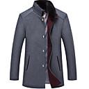 povoljno Men's Winter Coats-Muškarci Dnevno Osnovni Veći konfekcijski brojevi Dug Kaput, Jednobojni Ruska kragna Dugih rukava Poliester Tamno siva / Navy Plava / Žutomrk