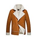 povoljno Men's Winter Coats-Muškarci Dnevno Osnovni Normalne dužine Jakna, Jednobojni Klasični rever Dugih rukava Pamuk / Poliester Crn / Bijela