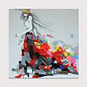 رخيصةأون لوحات-هانغ رسمت النفط الطلاء رسمت باليد - تجريدي الناس الحديث بدون إطار داخلي / توالت قماش