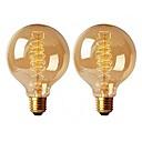ieftine OBD-2pcs 40 W E26 / E27 G95 Alb Cald 2200-2700 k Retro / Intensitate Luminoasă Reglabilă / Decorativ Incandescent Vintage Edison bec 220-240 V