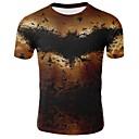 ieftine Aurii cu fir cu fir-Bărbați Rotund - Mărime Plus Size Tricou Bumbac De Bază - Animal Imprimeu Maro / Manșon scurt