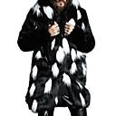 povoljno Muške jakne-Muškarci Dnevno Veći konfekcijski brojevi Normalne dužine Krzneni kaput, Color block S kapuljačom Dugih rukava Umjetno krzno Obala / Crn