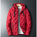 povoljno Muške jakne-Muškarci Dnevno Osnovni Zima Veći konfekcijski brojevi Normalne dužine Jakna, Jednobojni S kapuljačom Dugih rukava Poliester Red / Sive boje / Vojska Green
