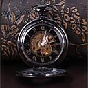 povoljno Muški satovi-Muškarci Sat kostur Džepni sat Japanski Mehanički na navijanje Rimska brojka Crna Casual sat Cool Analog Vintage Ležerne prilike Steampunk - Crn