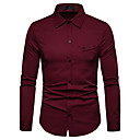 povoljno Muške košulje-Majica Muškarci - Posao / Osnovni Dnevno / Rad Jednobojni Print Lila-roza / Dugih rukava