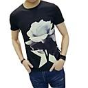 저렴한 남성 자켓 & 수트-남성용 플로럴 라운드 넥 슬림 티셔츠, 베이직 / 스트리트 쉬크 화이트 / 짧은 소매