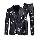 povoljno Muške jakne-Muškarci Dnevno Posao Veći konfekcijski brojevi Normalne dužine odijela, Geometrijski oblici Kragna košulje Dugih rukava Poliester Navy Plava / Poslovni casual / Slim