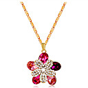 povoljno Prstenje-Žene Pink Kristal Ogrlice s privjeskom Klasičan Cvijet Romantični Moda Elegantno Pozlaćeni Imitacija dijamanta Pink 43 cm Ogrlice Jewelry 1pc Za Zabava / večer Dnevno