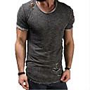 abordables Camisetas y Tops de Hombre-Hombre Básico Algodón Camiseta, Cuello Camisero Un Color Gris / Manga Corta