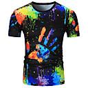 저렴한 남성 자켓 & 수트-남성용 3D / 무지개 라운드 넥 티셔츠, 베이직 면 레인보우 / 짧은 소매