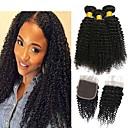 ieftine Kids' Hair Jewelry-3 pachete cu închidere Kinky Curly Păr Virgin Neprocesat Umane tesaturi de par pachet de par Un ambalaj Solution 8-20 inch Culoare naturală Umane Țesăturile de par O noua sosire Cool Modă Umane