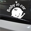 رخيصةأون أغطية-أبيض / أسود Car Stickers كرتون / لطيف / فكاهة ملصقات السيارات الذيل / نافذة تقليم الأحرف ملصقات