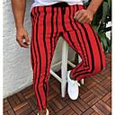 povoljno Men's Winter Coats-Muškarci Ulični šik Dnevno Sportske hlače Hlače - Prugasti uzorak / Jednobojni Obala Bijela Plava M L XL