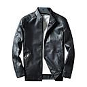 رخيصةأون ربطات عنق-رجالي مناسب للبس اليومي أساسي خريف & شتاء عادية جواكيت جلد, لون سادة مرتفعة كم طويل PU بني / أسود / نبيذ