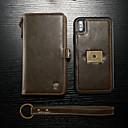 رخيصةأون حالات / أغطية ون بلس-غطاء من أجل Apple iPhone XS Max محفظة / حامل البطاقات / قلب غطاء كامل للجسم لون سادة قاسي جلد PU