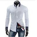 tanie Męskie koszule-Koszula Męskie Solidne kolory Czarny / Długi rękaw