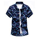 رخيصةأون قمصان رجالي-رجالي شاطئ أساسي طباعة قياس كبير - قطن قميص, هندسي ياقة مفرودة / كم قصير / الصيف